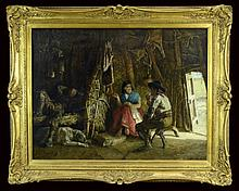 Edwin Long (1829-1891) The Old Trappers Cabin Oil Painting
