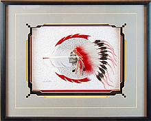 Jean Louis Husson Native American Feather Painting