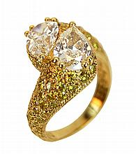 18k Gold Twin Pear Shaped Diamond Bypass Ring