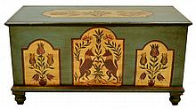 Pennsylvania Dutch Painted Pine Wood Dowry Chest