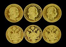(3) 1915 Austrian 1 Ducat Gold Coin Lot