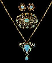 14k Gold Vintage Opal & Diamond Jewelry Suite