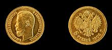 1904 Russian Nicholas II 5 Ruble Gold Coin
