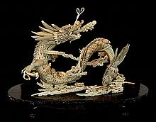 20th C. Japanese Faux Ivory Dragon Figure