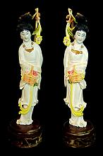Chinese Carved Ivory Quan Yin Sculpture, PAIR
