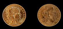 1913 French 20 Franc Rooster Gold Coin