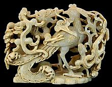 Carved Jade Dragon Rooster/Dragon Sculpture