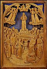 Carved Wooden Assumption of Virgin Mary Plaque