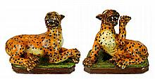 Antique Italian Large Majolica Leopard PAIR