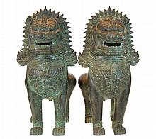 Bronze Foo Dog Sculpture PAIR