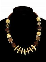 Wood, Bone & Silver Bead Necklace