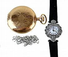 3 Pcs Wrist Watch Elgin Pocket Watch 18k Scrap