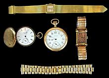 Wristwatch & Pocket Watch Lot, (1) w/ 14k Gold