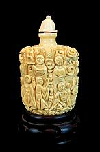 Chinese Carved Ivory Snuff Bottle w/ Stand