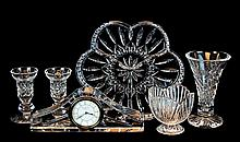 6 Pcs. Waterford Cut Crystal: Vase, Dish, Clock