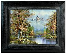 Signed Franklin Oil Painting, Mountain Scene