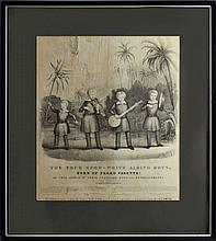1844 Lithograph, Four Snow-White Albino Boys, Rare
