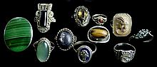 11 Sterling & Silver Rings, Malachite, Marcasite