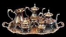 Reed & Barton Loveland Rose Silver Plate Tea Set