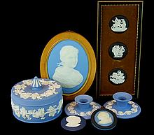 7 Pcs. Old Wedgwood Plaque, Candlestick, Jar Lot
