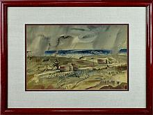 1930s American Watercolor, Stormy Beach