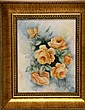 Signed Catherine Iobst Oil on Tile, Flowers