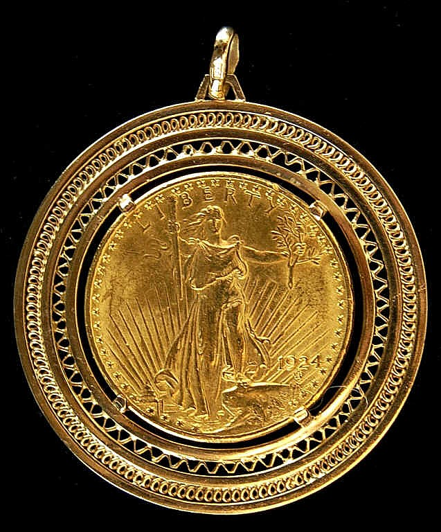 1924 St. Gaudens $20 Gold Piece in 14k Bezel