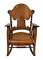 Antique Pressed Back Oak Rocking Chair. Circa 1900