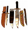 (3) Pcs. Bowie & Hunting Knife Lot w/ Sheaths
