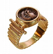 14K Gold Greco-Roman Coin Ring