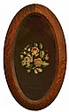 Nouveau, Oval Oak Framed Needlework.