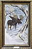 Vintage Oil Painting Moose by Juan R Parker