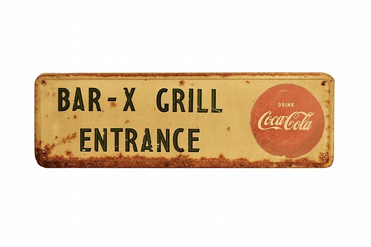Vintage Coca Cola Enameled Sign, Bar Entrance.
