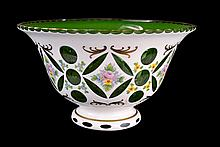 Bohemian White Cased Cut to Green Glass Bowl