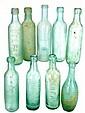 Lot of 9 Vintage Glass Water Bottles