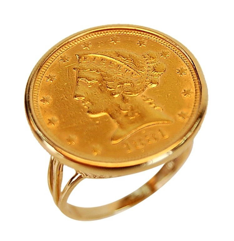 14K Gold 1881 $5 Liberty Head Coin Ring