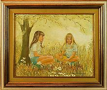 Genevieve Reckling (20th C.) Portrait of Two Girls