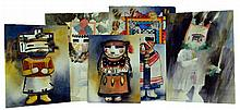 Deborah Hiatt (1953-2013) 5 Kachina Watercolor Lot
