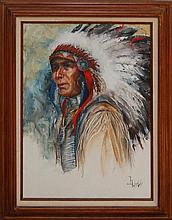 Gloria Webb Cowboy & Indian Oil Painting Pair