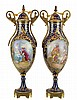 Sevres-Style Hand Painted Porcelain Urn PAIR