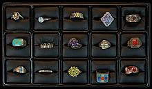 15 Pcs. Sterling Silver Gemstone Ring Lot