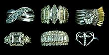 6 Pc. Sterling Silver Ring Lot: Quartz, Marcasite