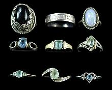9 Pcs Sterling Silver Ring w/ Tiffany & Co., Topaz