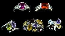 5 Sterling Silver Gemstone Ring Lot, #10