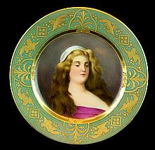 19th C. Royal Vienna Porcelain Portrait Plate #2