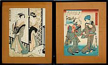 Framed Antique Japanese Woodblock PAIR