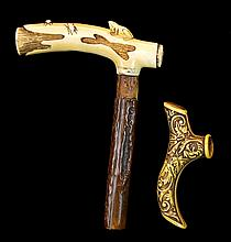 Carved Ivory & Vintage Resin Cane Handle PAIR