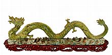 Chinese Carved Serpentine & Jade Dragon Sculpture