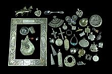Sterling Silver: Charm, Frame, Pin, Token Lot