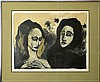 Hilda Castellon (20th Cen.) Litho, Two Women